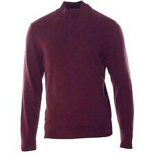 Alfani Men's 1/4 Zip Cotton Pull Over Sweater Port Wine Heather Sz. Medium