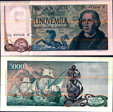"""1977 * Banconota Italia Repubblica 5000 Lire """"C Colombo  Tipo 2"""" FDS"""