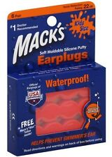 Mack's Waterproof Reusable KIDS Swimming Ear Plugs Moldable Silicone 6 PR