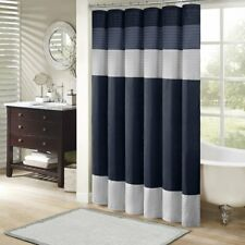 Madison Park Amherst Bathroom Shower Faux Silk Pieced Modern Microfiber Bath Cur