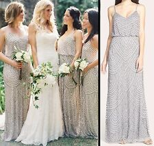 Custom Size & Color Hand Beaded Art Deco Blouson Gown Silver Bridesmaid Dress