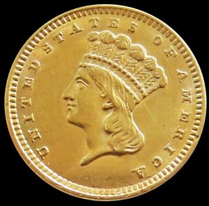 1857 GOLD UNITED STATES PRINCESS HEAD $1 DOLLAR COIN TYPE 3