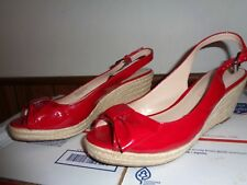 Franco Sarto RED Patent Leather Wedge Heels Peep Toe Sandals Shoes Womens 8M