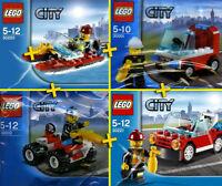 LEGO City / Pompier / Fireman - 4 Sets PACK - 4 Figures, Car, Boat, Quad, Truck