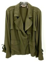 Laurie Felt Women's 14 Drape Front-Zip Closure Jacket Army Olive Green NWOT