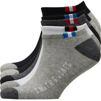 Smith And Jones Mens Five Pack Trainer Liners Black/Grey/White 7-11 40-46