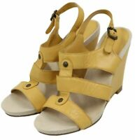 Nine West Womens Ladies Yellow Leather Slingback Wedges Heels Shoes Size 7.5M