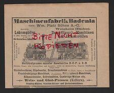 WEINHEIM, Werbung 1905, Maschinen-Fabrik Badenia Dampfdresch-Maschinen