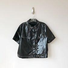 Lafayette 148 Black Short Sleeve Jacket Rain Coat Shiny - Size 18