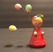 Vintage Wooden Ornament Girl Holding Balloons