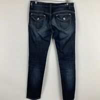 Vigoss Jeans Women's Sz 7 Straight Leg Mid Rise Dark Wash Distressed Embroidered