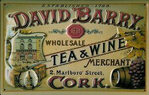 David Barry Tea & Wine Blechschild Schild 3D geprägt gewölbt Tin Sign 20 x 30 cm