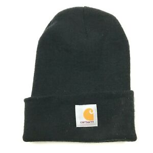 VINTAGE Carhartt Hat Cap Beanie Black One Size Knitted Adult Workwear 90's Men's
