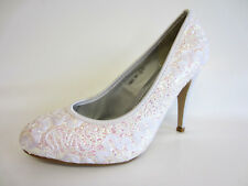 Womens Spot on High Heel Court Lace Design F9603 White UK 6 Regular