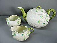 Japan Tea Pot Creamer Sugar Imitation Belleek Shamrock Decoration Hand Painted