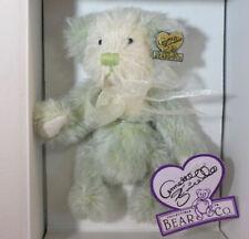 New Annette Funicello Kiwi green Mohair Bear Bean Bag Nib Collectible Coa