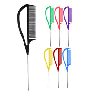 Hairdresser Barber Metal Pin Tail Comb For Styling Hairdressing PRO