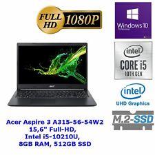 Notebook Acer Aspire 3(A315-56-54W) 15,6 Full-HD, Intel i5-10210U, 8GB RAM, 512G