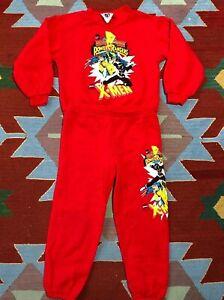 Vintage Mighty Morphin Power Rangers Pajamas Size medium 5/6 1994 X Men Marvel