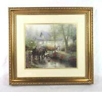 "Vintage Thomas Kinkade ""Sunday Outing"" Horse & Carriage Scene Framed Print"