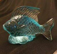 Blue Topaz Art Glass Fish Paperweight Figure  - Fenton?