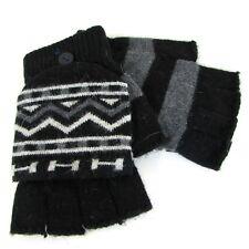 Men Winter Knitted Wool Half Finger Gloves with Mitten Flap Size M ~ Black