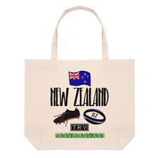 Rugby New Zealand Large Beach Tote Bag - Funny League Union Flag Shoulder