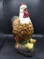 """Vintage 16.5"""" Ceramic Chicken Hen w/2 Baby Yellow Chicks"""