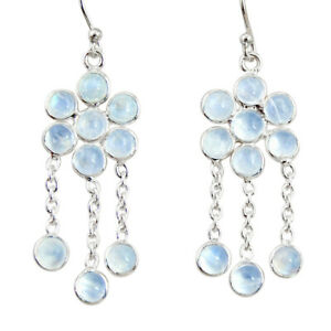 Holiday Presents 9.03cts Natural Rainbow Moonstone Chandelier Earrings R33512
