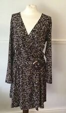 M&S Black Brown Mix Long Sleeved Dress Size 16
