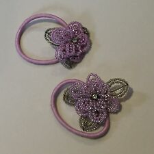 2 x Gorgeous Beaded Accessorize Pink Floral / Flower Girls Elastic Hair Ties