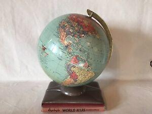 "1960's Replogle 14"" World Globe W/ Metal Deco World Atlas Book Holder"
