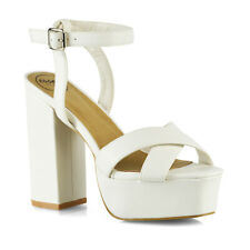 New Womens Strappy Ankle Strap Platform Sandals Ladies Peep Toe Shoes Size 3-8