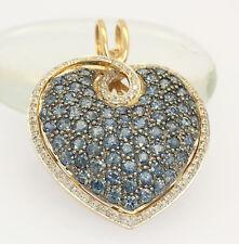 ♦♦ Herz Anhänger in 14 kt 585er Gelb Gold mit Saphiren Diamanten Saphir Safir ♦♦