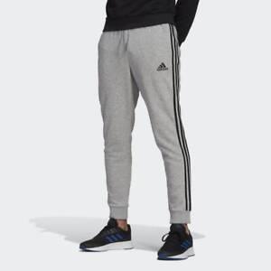 New Mens Adidas Essential Fleece Tapered Cuff Pants Sweatpants Joggers 3 Stripe