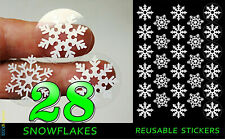28 x Reusable Christmas Snowflake Stickers Vinyl Window Decorations Removable