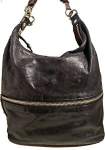 "HOBO The ORIGINAL Hobo Bag ""JUDE"" SATCHEL Shoulder Bag Black Genuine Leather"