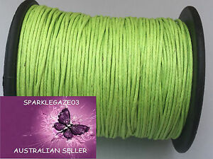 80 METRE LIGHT GREEN WAXED COTTON CORD 1MM THICK UNCUT AND ON ROLL!! AUS SELLERD