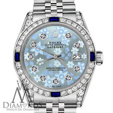 Rolex 26mm Datejust Glossy Ice Blue Flower Dial with Sapphire & Diamond Bezel