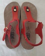 Xti Ladies Red Summer Flat Wedge Sandals Buckle T-Bar Open Toe Shoe UK 6 EU 40