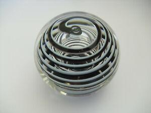 """Liskeard Glass Purple & White Swirl Large Bubbled Paperweight - 3""""(>7.5cms)"""