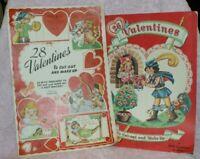 2 lot Vintage Cut Out Valentine Book Valentines To Cut Up Circa 1940's