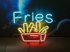 """New French Fries Open Neon Light Sign 17""""x14"""" Beer Cave Bar"""