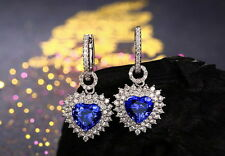 SOLID 18K WHITE GOLD NATURAL BLUE TANZANITE DIAMOND WEDDING ENGAGEMENT EARRING