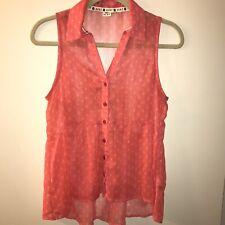Roxy Sleeveless Blouse Sailboat Print Tank Sheer Top Shirt Peplum Coral Medium