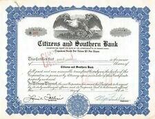 New listing Citizens and Southern Bank Common Stock Certificate 1950's