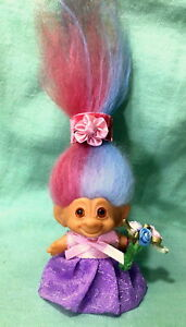 "1960's MARKED DAM 3"" TROLL -TWO-TONE Pink /Blue Icelandic HAIR Sweet Flower Girl"