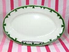 Vintage 1950's Jackson China Hotel Restaurant Ware Oval Green Airbrush Platter