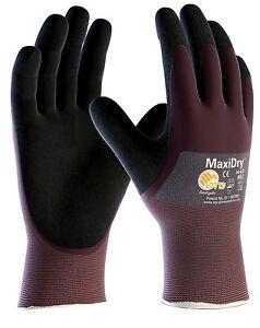 12 x Pairs ATG MaxiDry Nitrile Lightweight Grip Oil Liquid Work Gloves (56-425)