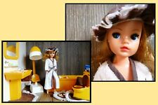 Pedigree Sindy doll, vintage, with her complete yellow bathroom set